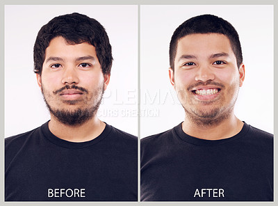 Buy stock photo Before and after studio shot of a young man