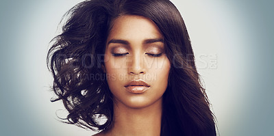 Buy stock photo Closeup portrait of a beautiful young woman