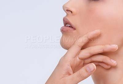 Buy stock photo Closeup shot of a young woman with beautiful skin