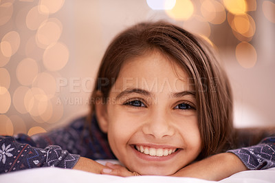 Buy stock photo Portrait of a cute little girl at home