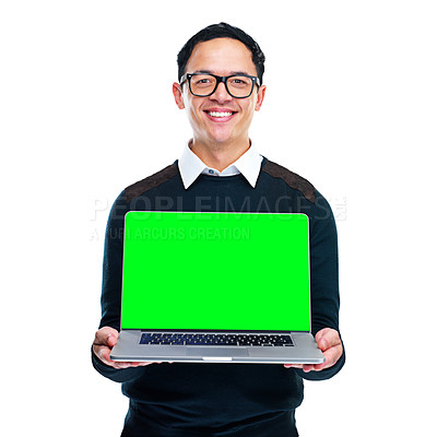 Buy stock photo Portrait of a young businessman holding a laptop on a white background