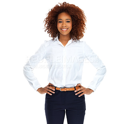 Buy stock photo Studio portrait of a beautiful young woman isolated on white