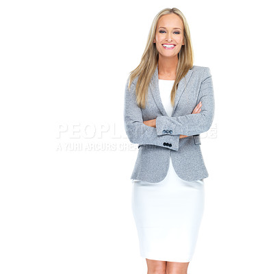 Buy stock photo Studio portrait of a beautiful young woman standing against a white background