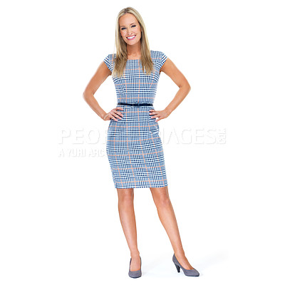 Buy stock photo Full-length studio portrait of a beautiful young woman isolated on white