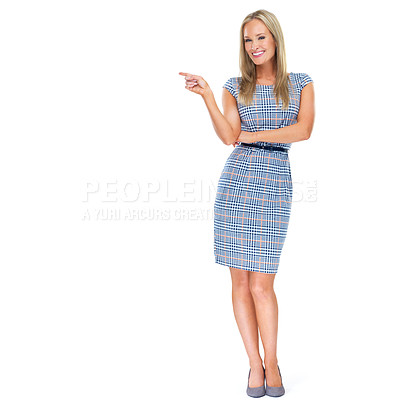 Buy stock photo Full-length studio shot of a beautiful young woman pointing at copyspace