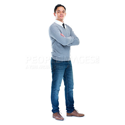 Buy stock photo Full-length studio portrait of a young man isolated on white