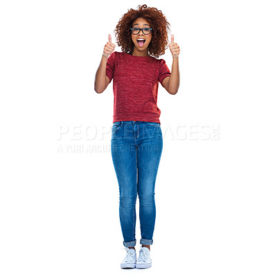 Buy stock photo Full-length studio portrait of a beautiful young woman showing thumbs up