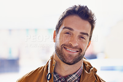 Buy stock photo Cropped portrait of a handsome young man
