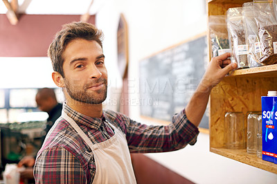 Buy stock photo Shot of a barista at work