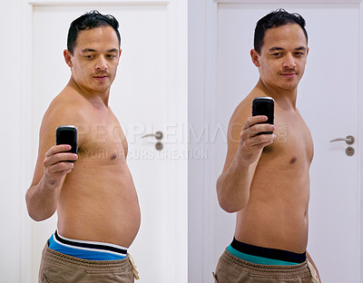 Buy stock photo Shot of a handsome young man taking a selfie before and after his diet