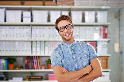 Buy stock photo Shot of a stylish young man in an office