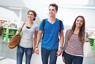 Buy stock photo Outdoor shot of three friends getting a breath of fresh air