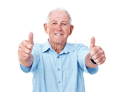 Buy stock photo Studio portrait of an elderly man giving two thumbs up to the camera isolated on white