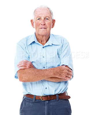 Buy stock photo Studio portrait of an elderly man standing with his arms crossed isolated on white