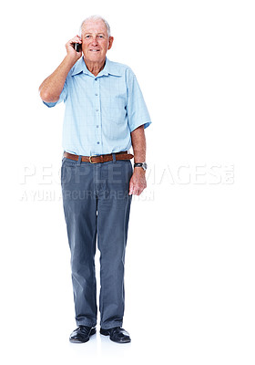 Buy stock photo Full length studio shot of a smiling elderly man talking on a cellphone isolated on white