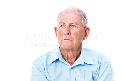 Buy stock photo Studio shot of a serious-looking elderly man isolated on white