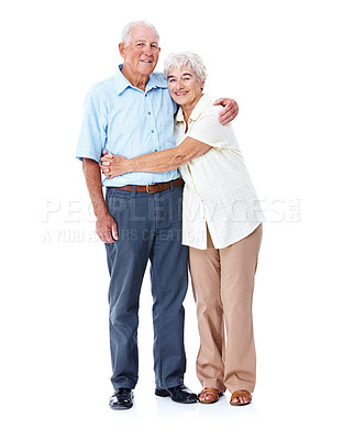 Buy stock photo Full length studio portrait of an affectionate elderly couple isolated on white