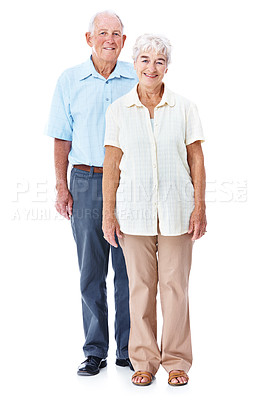 Buy stock photo Full length studio portrait of a happy elderly couple isolated on white