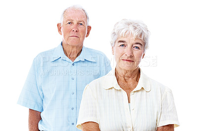 Buy stock photo Studio portrait of an elderly couple isolated on white