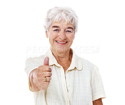 Buy stock photo Studio portrait of a smiling elderly woman giving the thumbs up isolated on white