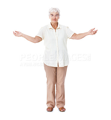 Buy stock photo Full length studio portrait of a smiling elderly woman standing with her arms raised isolated on white
