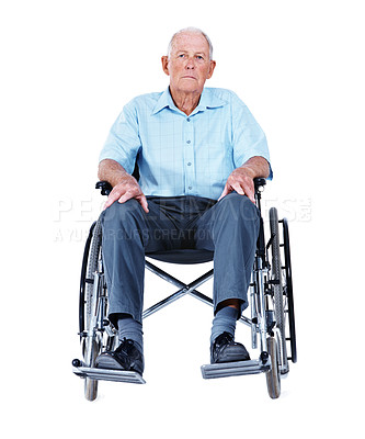 Buy stock photo Full length studio portrait of an elderly man sitting in a wheelchair isolated on white