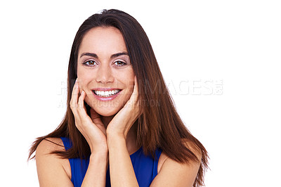 Buy stock photo Shot of an excited young woman with her hands on her chin against a white background