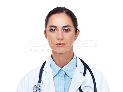 Buy stock photo Head and shoulders portrait of an attractive young doctor isolated on white