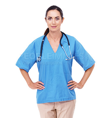 Buy stock photo Portrait of an attractive young nurse standing with her hands on her hips against a white background