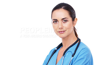 Buy stock photo Head and shoulders portrait of an attractive young nurse isolated on white