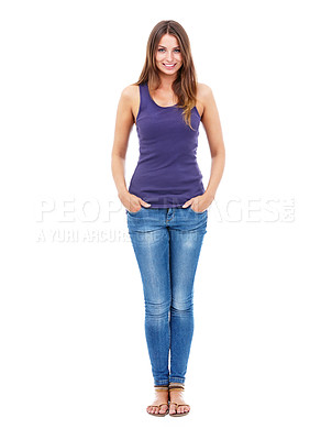 Buy stock photo Portrait of a pretty woman in casual clothing with her hands in her pockets -Studio Shot