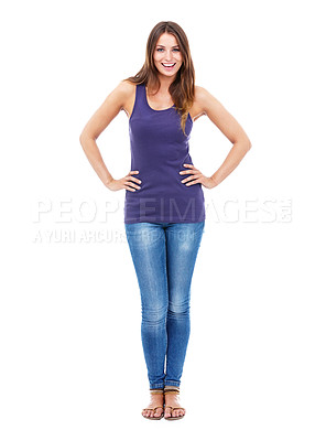 Buy stock photo Shot of a confident woman in casual clothing with her hands on her hips