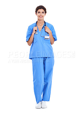 Buy stock photo Shot of a female nurse in scrubs against a white background