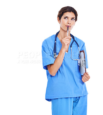 Buy stock photo Shot of a female nurse holding a clipboard against a white background