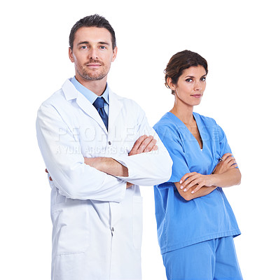Buy stock photo Portrait of a doctor and nurse with their arms crossed against a white background