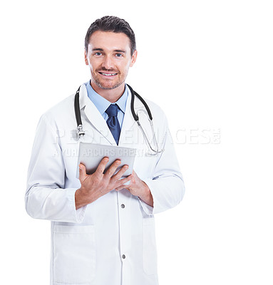 Buy stock photo Portrait of a smiling doctor holding a digital tablet against a white background