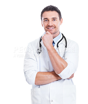 Buy stock photo Portrait of a handsome doctor isolated on white