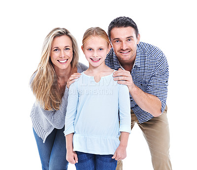 Buy stock photo Studio shot of a mother, father and daughter smiling at the camera against a white background