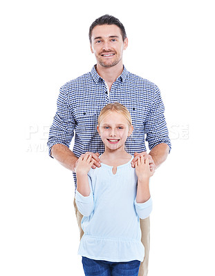 Buy stock photo Studio shot of a father and daughter dressed in casual clothing against a white background