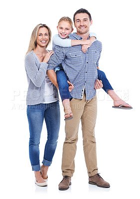 Buy stock photo Studio shot of a mother, daughter and father smiling at the camera against a white background