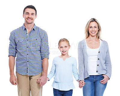 Buy stock photo Studio shot of a smiling father, mother and daughter holding hands against a white background