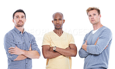 Buy stock photo Three mid adult men standing with their arms folded while isolated on white
