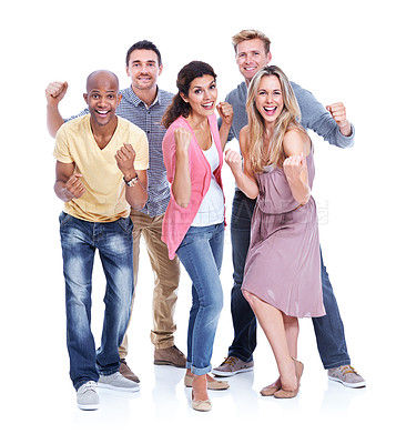 Buy stock photo Five coworkers cheering and raising their fists in victory while isolated on white