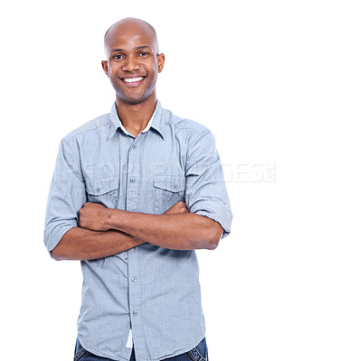 Buy stock photo A smiling african american man isolated on white with his arms folded