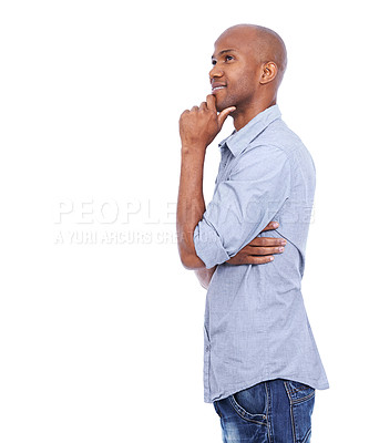 Buy stock photo A thoughtful african american man isolated on white