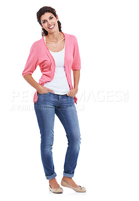 Buy stock photo An attractive brunette with her hands in her pockets smiling while isolated on white