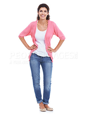 Buy stock photo A full length portrait of an attractive woman smiling with her hands on her hips