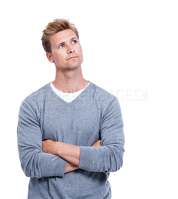 Buy stock photo A handsome man isolated on white with his arms folded while looking thoughtful