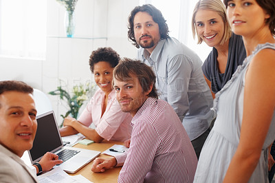 Buy stock photo Group of business people working together in the board room