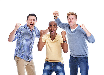 Buy stock photo Three men holding up their fists while cheering and isolated on white